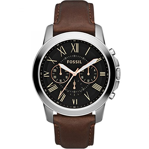 Fossil Herren Analog Quarz Uhr mit Leder Armband FS4813IE