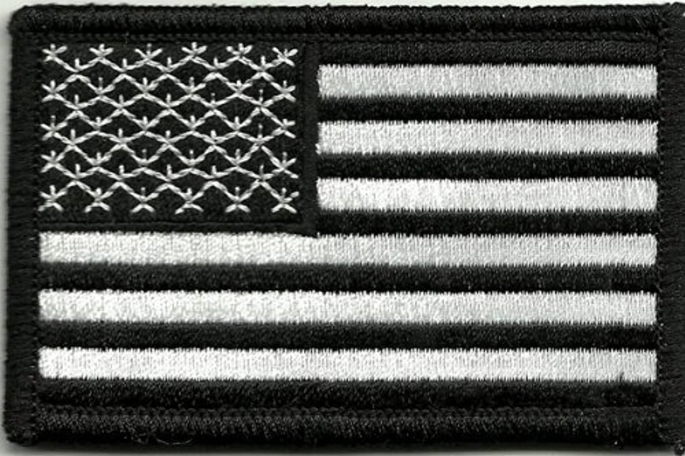 American Flag USA Flag Patch - Multitan - Embroidered Patch (Black - Silver)