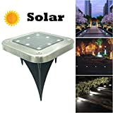 LED Solar Power Buried Light Under Ground Lamp Outdoor Path Way Garden Decking, Square Solar Floor Light Lawn Light (White)