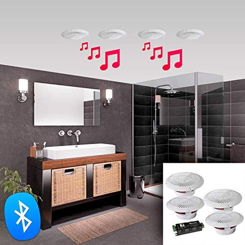e-audio Bluetooth Deckenlautsprecher-Kit Badezimmer Wireless Bluetooth Verst?rker wasserabweisend Deckenleuchte Lautsprecher - 4 Way