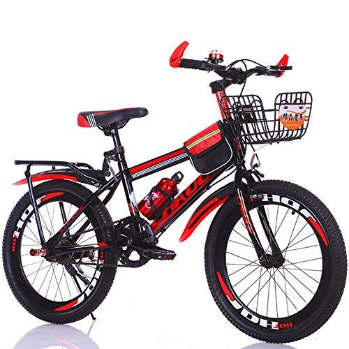 FJW Unisex Mountainbike Einzelgeschwindigkeit 18 Zoll 20 Zoll 22 Zoll 24 Zoll Student Kind Pendlerstadt Fahrrad mit Geschenkset,Red,24Inch
