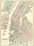 Historic Map : New York City, Brooklyn, Jersey City, Hoboken, etc, 1875, OW Gray, Vintage Wall Art : 16in x 24in