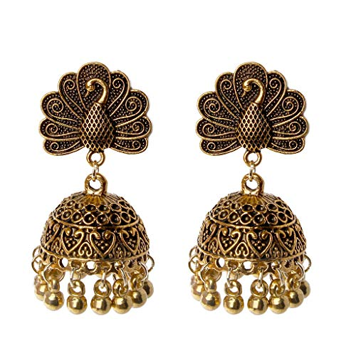 VIccoo Earrings, Boho Vintage Peacock Jhumka Indian Ethnic Bollywood Gypsy Tribal Dangle Earrings - Brown