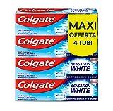 colgate, dentifricio sbiancante sensation white, denti più bianchi in 10 giorni, testato clinicamente - 4 confezioni da 75 ml