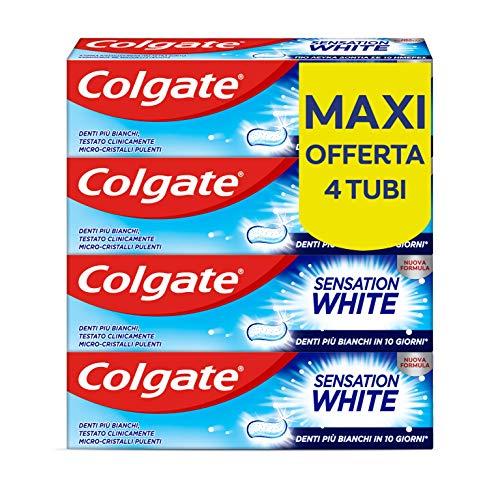 Colgate Dentifricio Sbiancante Sensation White, Denti Più Bianchi In 10 Giorni, Testato Clinicamente - 4 Confezioni da 75 ml