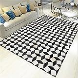 AU-SHTANG Alfombra Persa La Alfombra de patrón 3D Cuadrada Blanca no se Cae el Color...
