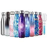 HGDGears Bottiglia Acqua in Acciaio Inox - Senza BPA, Borraccia Termica Isolamento Sottovuoto a Doppia Parete, Borracce per Bambini, Scuola, Sport, All'aperto, Palestra, Yoga (500ml, Rosa Stellato)…