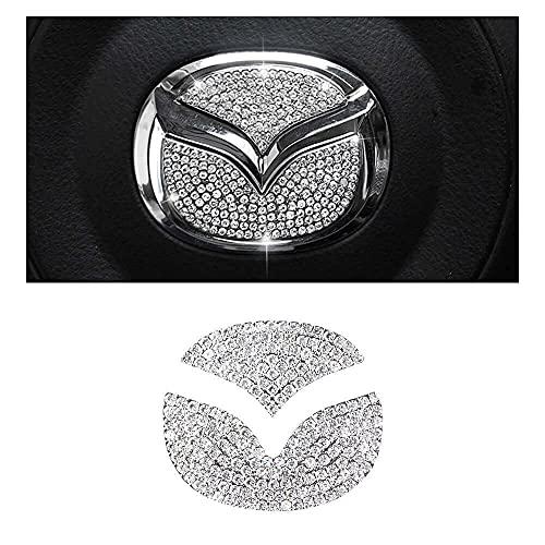 BLNGOOSE für Mazda 3 Zubehör 2 5 6 CX3 CX4 CX5 C X7 CX9 Bling Mazda Lenkrad Logo Aufkleber Diamant Auto Strass Silber 2 Stück