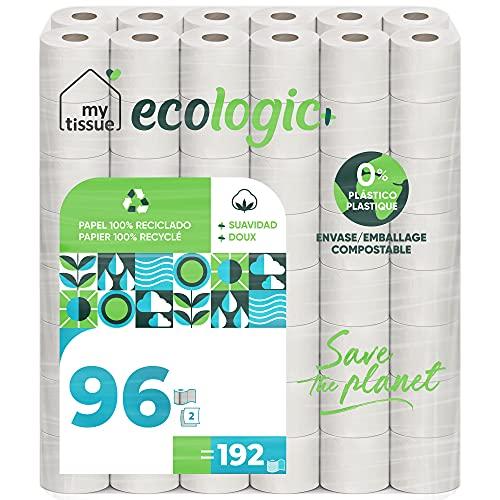 My Tissue Ecologic+ Papel higiénico doméstico, 100% celulosa reciclada: 96 rollos de 36 m. c/u; 3456 metros totales de papel de baño