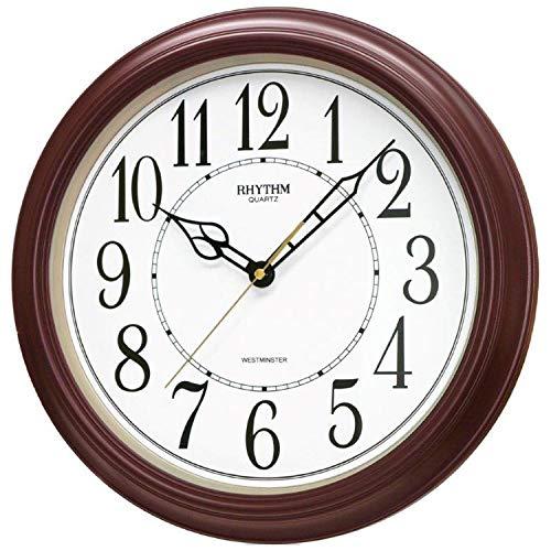 RHYTHM - Quarzuhr - Wanduhr - Kunststoffgehäuse braun - rund - Westminster-Melodie - Stundenschlag zur vollen Stunde
