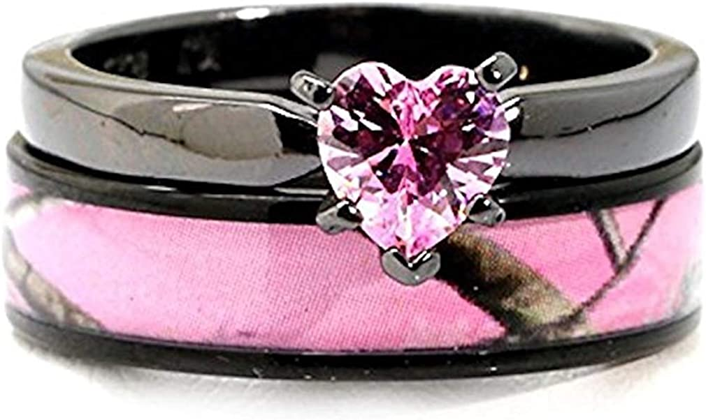 Black Plated Pink Camo Wedding Ring Set Pink Heart Engagement Rings Hypoallergenic Stainless Steel