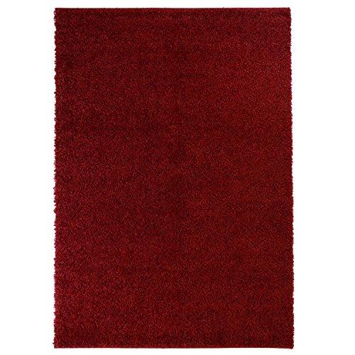 carpet city Teppich-Shaggy-, Flauschiger Hochflor Wohn-Teppich, Einfarbig/Uni in Rot für Wohnzimmer, Schlafzimmmer, Arbeitszimmer, Größe in cm:120 x 170 cm