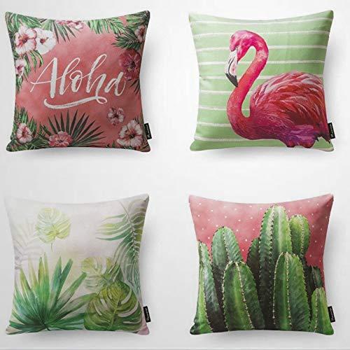 Kiss Cervical Juego de 4 fundas de almohada de flamenco para primavera y verano, funda de cojín de 18 x 18 cm, funda de almohada para decoración del hogar para sofá