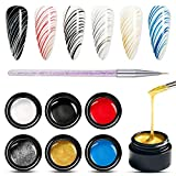 Painting Elastic Drawing Spider Gel 6 Colors Soak off UV LED Gel Polish, Drawing Nail Gel for Line, DIY Nail Art Manicure with Brushes