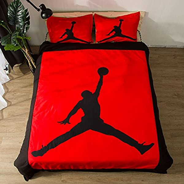AMTAN 3D Basketball Duvet Cover Set Red And Black Bedding Set Kids Teenagers And Adults Bed Set 100 Polyester 1 Duvet Cover 2 Pillowcases Twin Full Queen King Size