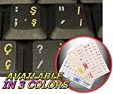 4Keyboard Turkish Q Keyboard Sticker with Yellow Lettering ON Transparent Background for Desktop, Laptop and Notebook