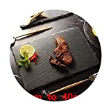 Natural Black Western Slate stone Dishes Solid Square Sushi Steak Barbecue BBQ Plate Cheese Pizza Dessert cake Fruit dish Tray,25x12cm
