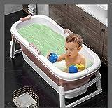 InLoveArts Faltbares Baby-Duschbecken, Anti-Rutsch-Baby-Badewannenset, Säuglings-Duschbecken, verstellbare Neugeborenen-Sitzstütze mit Thermostatbezug(115 * 62 * 52 cm)
