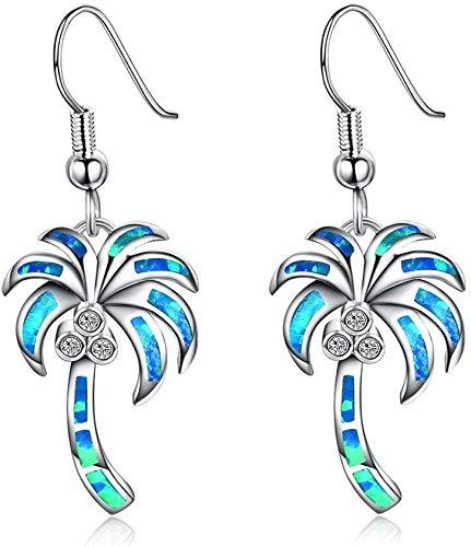 Jambala Pendientes de Coco Árbol de Plata del ópalo de Fuego Gancho Muchacha de los Pendientes de la joyería S925 + White Opal (Color : Blue)