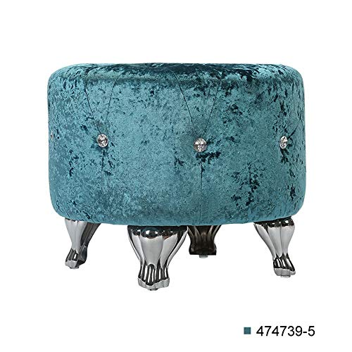 Brisk- Dressing Hocker, Schlafzimmer Home Single Stoff Crystal Runde Make-up Stuhl Lake Blue, Schwarz (Farbe : Lake Blue)