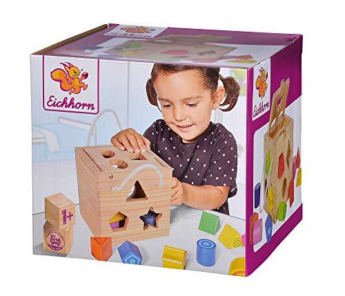 Eichhorn 100002092 Steckwürfel aus Holz, Kiefernholz, Motorikwürfel mit 12 Steckbausteinen, Holzspielzeug für Kinder ab 12 Monaten, Größe: 14,5x14,5x14,5 cm