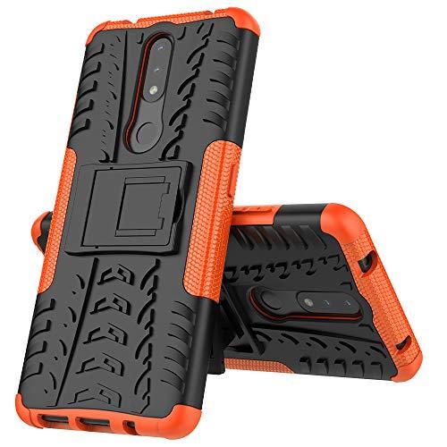 MingMing Funda para Nokia 2.4 Fundas Carcasa Tough Armor Series Robusta Armadura Híbrida TPU+PC, Bumper Case Cover para Nokia 2.4-Naranja