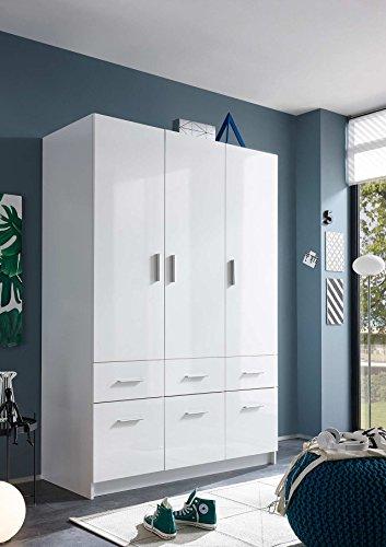 lifestyle4living Kleiderschrank, Weiß, Hochglanz, 135 cm | Drehtürenschrank 3 türig mit 6 Schubladen, 1 Kleiderstange, 2 Böden, im modernen Stil