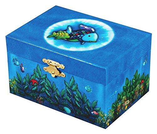 Original Trousselier Paris TROUS91066 - Regenbogenfisch - Schatztruhe - Spieluhr - Ideales Kindergeschenk - Phosphoreszierend - Leuchtend in der Nacht - Musik Elfen-Lied- Farbe dunkelblau