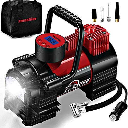 Portable Air Compressor Tire Inflator - 12V DC Heavy Duty Digital Pump with 9 LED Light for Car/Motorcycle/Air Matress, 12FT Extended Cord Upgraded Quick Connector,Fast Inflation,Multitool Incl