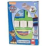 Multiprint Box 4 Sellos para Niños Paw Patrol, 100% Made in Italy, Set Sellos Niños Persolanizados, en Madera y Caucho Natural, Tinta Lavable no Tóxica, Idea de Regalo,, Art.27903