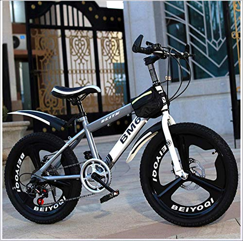 High Steel Frame Outroad Bike,Kids' Bikes,for 8-9-10-18 Years Old Elementary School Student,Front and Rear Brakes,Dual Suspension,Twist Shifters,Silver