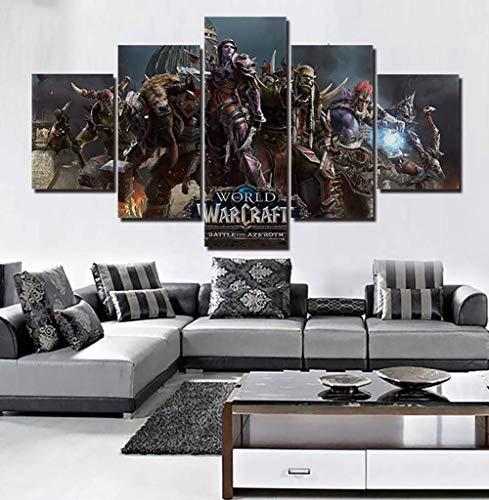 TYUPS 5 Paneles Cuadro en Lienzo Horda World Warcraft Batalla Azeroth Imagen Mural HD Impreso Póster por Casa Cuarto de los niños Decoración