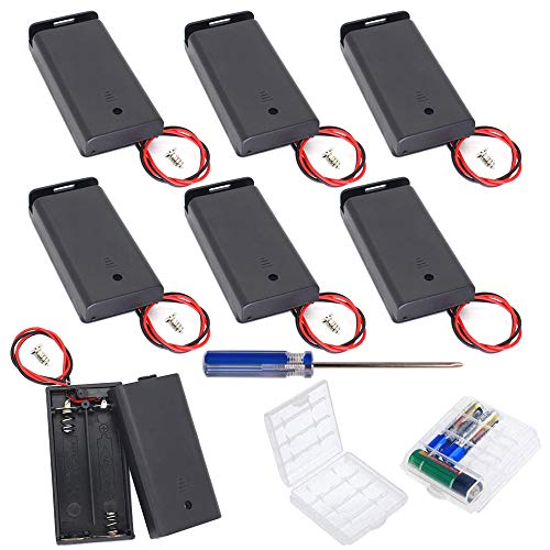 GTIWUNG 9Pcs AA 3V batería Titular Caso Caja de Almacenamiento de la batería de plástico con Interruptor ON/Off, DIY 2 × AA Caja de Pila Doble, Portapilas con Cables de Interruptor