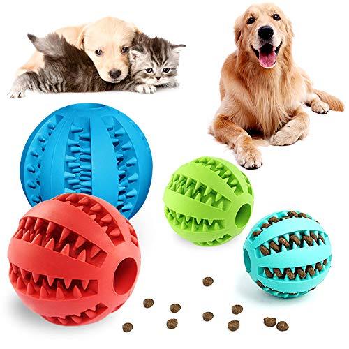 PUDSIRN 4 PCS Mascotas Pelotas de Juguetes para Perros, Pelota Hinchable de Goma no tóxica para la Limpieza de los Dientes de Perro/Entrenamiento del cociente Intelectual/Masticación