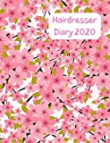 Hairdresser Diary 2020: Day to a page planner with hourly appointment slots. Perfect for mobile hairdresser visiting clients to keep track of appointments. Pretty pink cherry blossom design