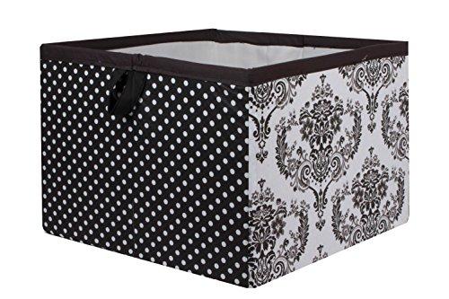 Bacati Classic - Caja de almacenaje (tamaño grande), diseño de damasco, color blanco y negro