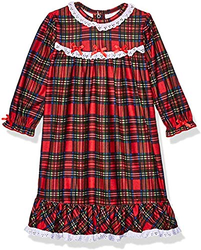 Little Me Gown Girls' Christmas Pajamas - Red Plaid Nightgown (10 Years)