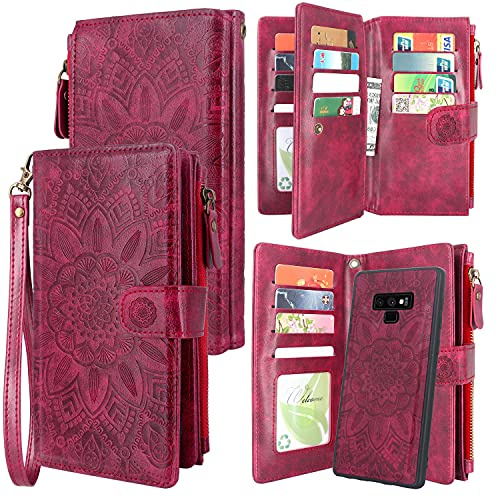Harryshell Detachable Magnetic Zipper Wallet Leather Case Cash Pocket with 12 Card Slots Holder Wrist Strap for Samsung Galaxy Note 9 (2018) Floral Flower (Wine Red)