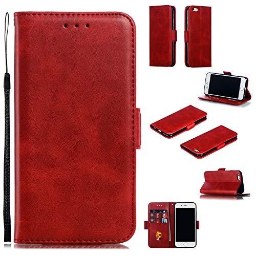 Snow Color iPhone 6S / iPhone 6 Hülle, Premium Leder Tasche Flip Wallet Case [Standfunktion] [Kartenfächern] PU-Leder Schutzhülle Brieftasche Handyhülle für Apple iPhone 6S / 6 - COYKB010008 Rot