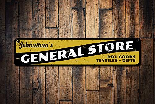 Fhdang Decor General Store Panneau, Panneau de Dry Goods Textiles & Cadeau personnalisé, nom Custom Shop Plaque en métal, Country Décor, Plaque en métal, 10,2 x 45,7 cm