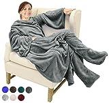 Catalonia TV-Decke Kuscheldecke mit Ärmel- und Fußtaschen Vlies-Decke große Wickeldecke zum Überwerfen, für Damen und Herren, 190x 135cm, grau