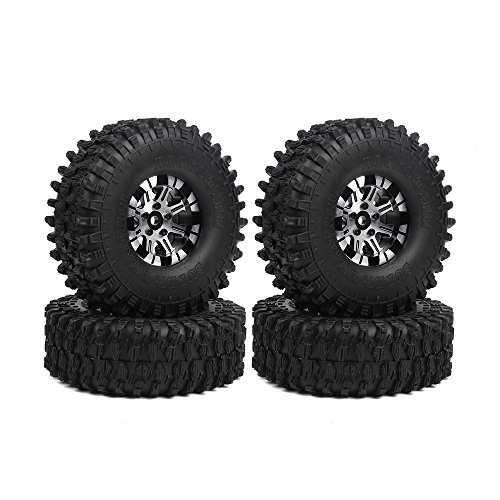 INJORA 1,9 RC Crawler Reifen Set mit Beadlock Felgen 4Pcs Tires mit Räder für 1/10 RC Crawler Traxxas TRX4 Axial SCX10 D90