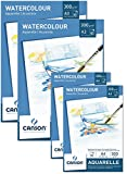 Canson Watercolour Paper, 300 g/m², Watercolour Pad, 10 Sheets, White - High-Quality Paper for Watercolour Art, Acid-Free Sparset 2x A4 + 2x A3