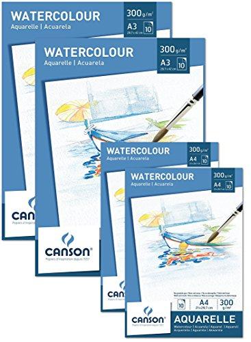 Sparpack Canson 2x Block A4 + 2x Block A3 Aquarellpapier 300 g/m² je 10 Blatt weiß – Papier mit hoher Qualität für Aquarell Kunst säurefrei + GRATIS Mischpalette