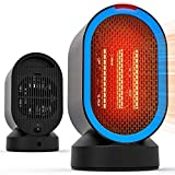 toyuugo Ceramic Space Heater, Small Electric PTC Heater Portable Desk Fan Heater with Auto Shut Off, Auto-Oscillating, 2s Heat-up, Tip-Over and Overheat Protection for Home, Office, 600W (Blue1)