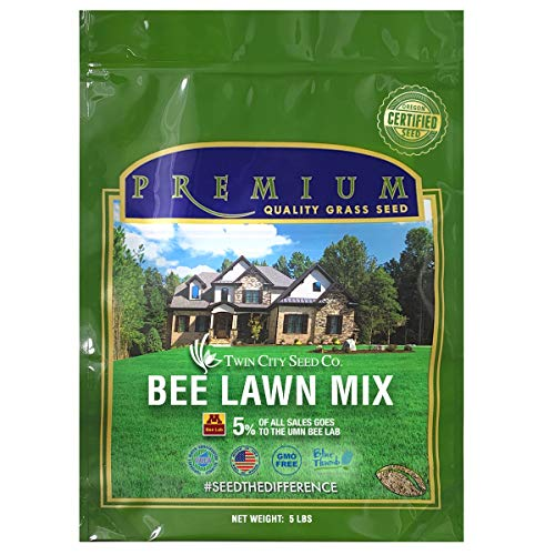 Twin City Seed Co. Bee Lawn Seed Mixture | Pollinator Friendly, Low Maintenance, Alternative Grass Seed | 99.9% Weed Free | No Noxious Weeds | Shade Tolerant | Sustainable & Resilient | 5 lb. Bag