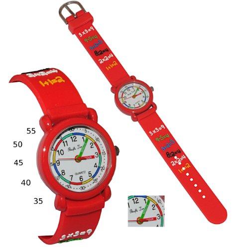 alles-meine.de GmbH 3D Effekt - Kinderuhr Zahlen Rechnen - rot - Uhr Kinder Armbanduhr Silikon bunt Schule Mathe Mathematik Analog - Lernuhr Kinderlernuhr