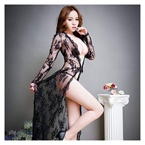HW.Q Lenceria Mujer-Liguero Bodies-Saltos de Cama Lencería Sexy para Mujeres -Sexy Lingerie-Feminine Transparent Lace Nightdress-Black