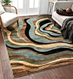 Hudson Waves Blue Brown Geometric Modern Casual Area Rug 8x10 8x11 ( 7'10' x 9'10' ) Easy to Clean Stain Fade Resistant Shed Free Abstract Contemporary Natural Lines Multi Soft Living Dining Room Rug