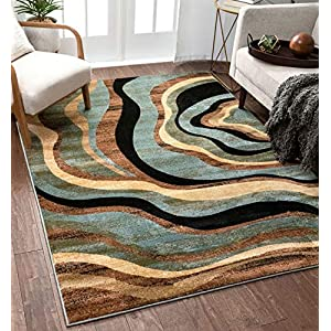 Hudson Waves Blue Brown Geometric Modern Casual Area Rug 9×13 ( 9'3″ x 12'6″ ) Easy to Clean Stain Fade Resistant Shed Free Abstract Contemporary Natural Lines Multi Soft Living Dining Room Rug